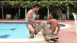 Horny bare latinos by a pool 228