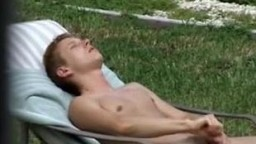 Caught my roomate wanking in back yard
